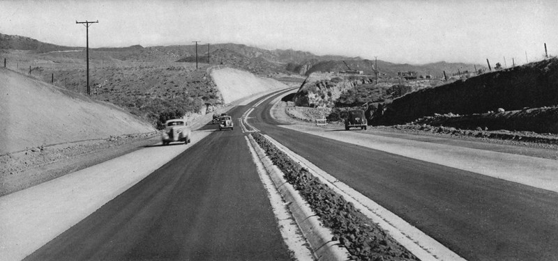 Section of 4-lane divided highway being completed on Coast Highway between Santa Monica and Oxnard