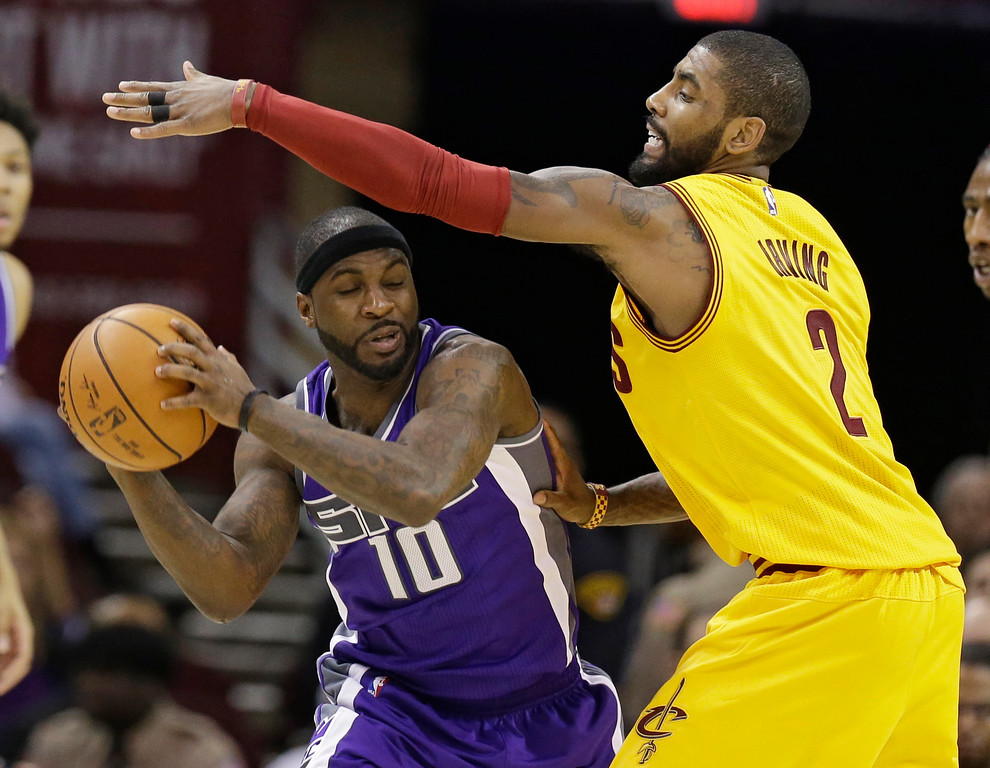 . Sacramento Kings\' Ty Lawson (10) drives against Cleveland Cavaliers\' Kyrie Irving (2) in the second half of an NBA basketball game, Wednesday, Jan. 25, 2017, in Cleveland. (AP Photo/Tony Dejak)