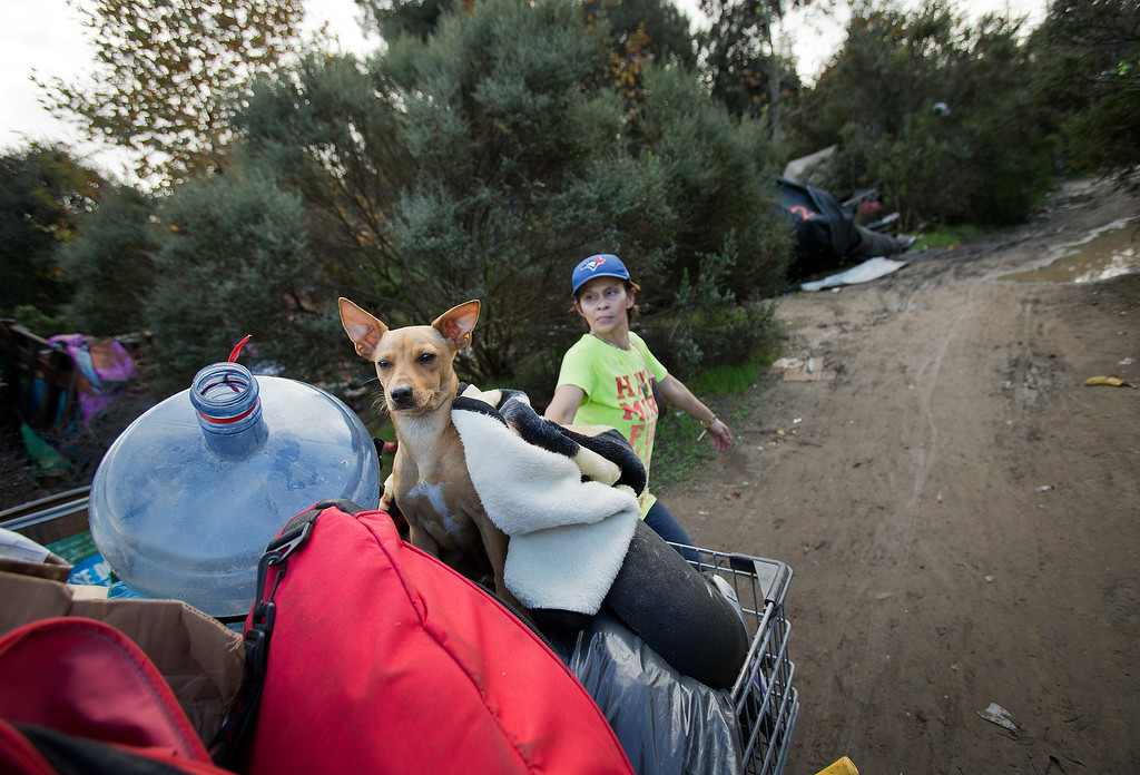 . Waiting until the last minute, Lilly Mai moves her possessions out of the homeless encampment known as The Jungle in San Jose, Calif., on Thursday, Dec. 4, 2014. (LiPo Ching/Bay Area News Group)