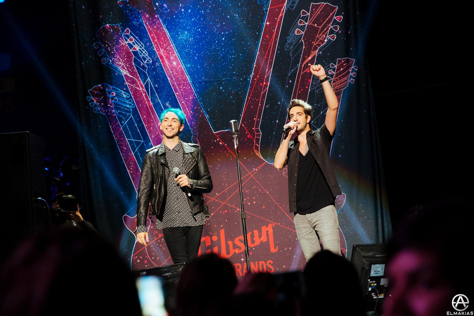 Alex Gaskarth and Jack Barakat of All Time Low hosting the Alternative Press Music Awards 2015 by Adam Elmakias
