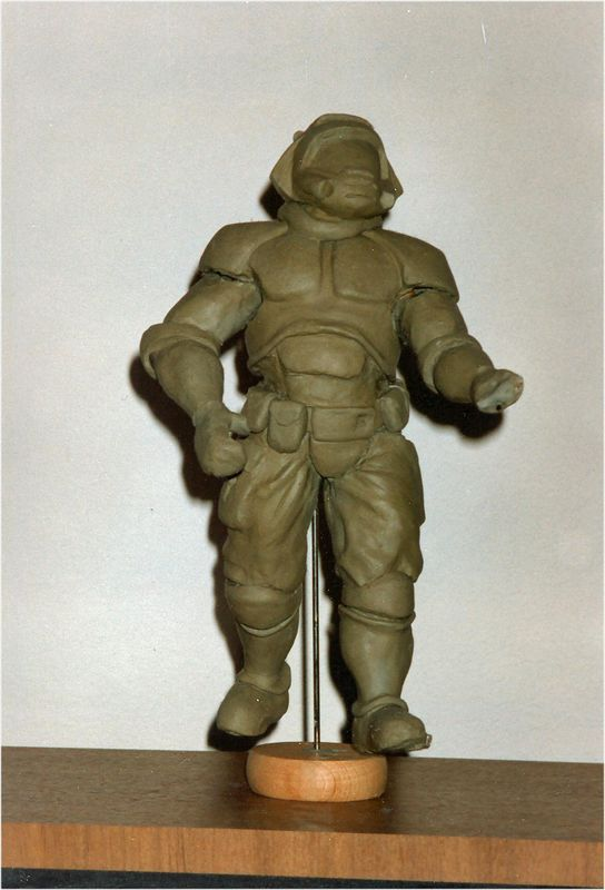 Yes, this is the clay model of the DoomGuy that Adriani created!  One pose, folks, or it breaks into a silly mess.