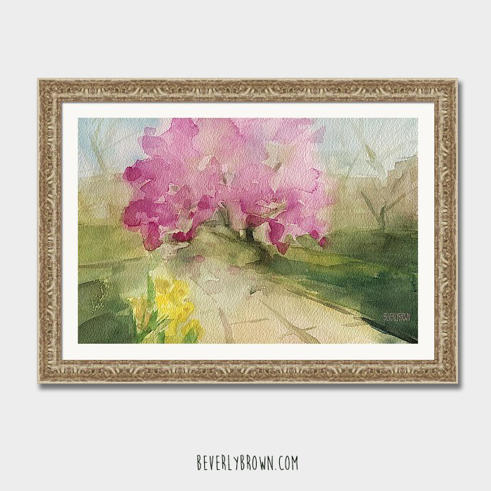 Pink magnolia tree Central Park framed painting print by Beverly Brown.