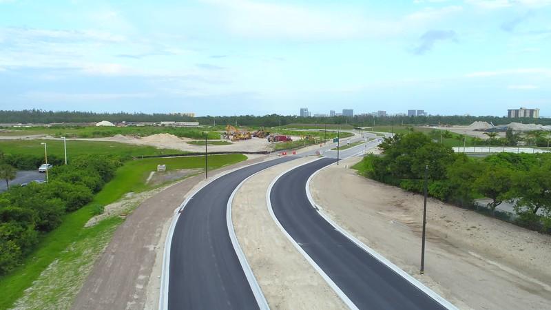 Aerial inspection construction site development landscape 4k 24p