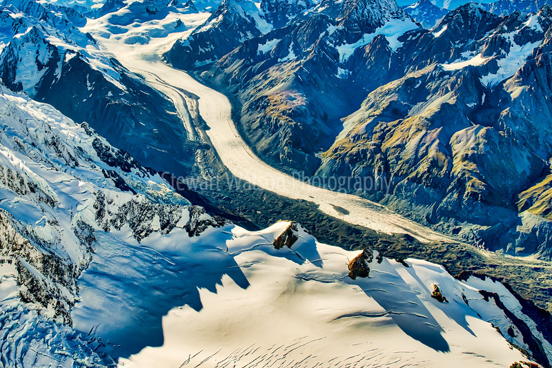 Magnificent ice glacier of New Zealand Southern Alps