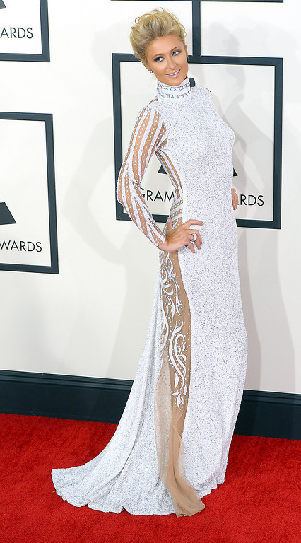 . Paris Hilton arrives at the 56th Annual GRAMMY Awards at Staples Center in Los Angeles, California on Sunday January 26, 2014 (Photo by David Crane / Los Angeles Daily News)