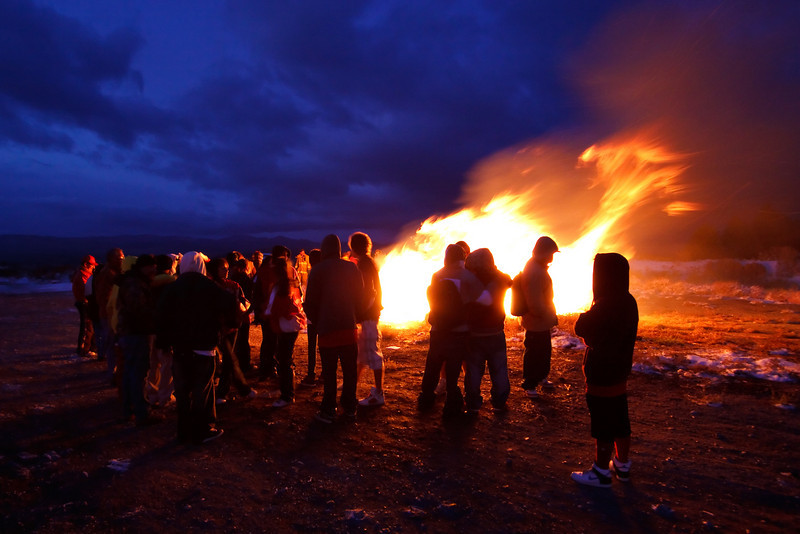 The students at tiny Lee Vining High School were celebrating their annual Homecoming Bonfire.