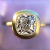 2.05ct Antique Cushion Cut Diamond Chunky Bezel with pave setting GIA J SI2 6