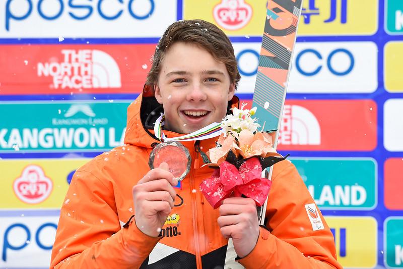 14-3-2017 SKIEN: 2017 WORLD PARA SKIEN WORLD CUP FINALS: PYEONGCHANG Zilver voor Jeroen Kampschreur. Super G. Foto: Mathilde Dusol