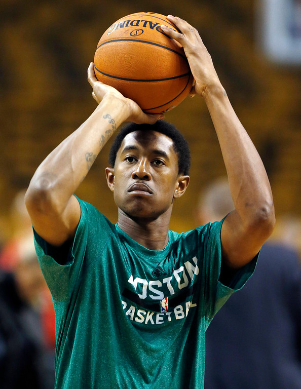 . Boston Celtics\' MarShon Brooks shoots before in the first quarter of an NBA basketball game in Boston, Friday, Nov. 1, 2013. (AP Photo/Michael Dwyer)