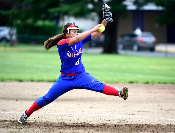 5/30/2019 Mike Orazzi | Staff Hale Ray's Sam LaFemina (9) during a Class S Second Round softball game in Bristol Thursday with St. Paul.