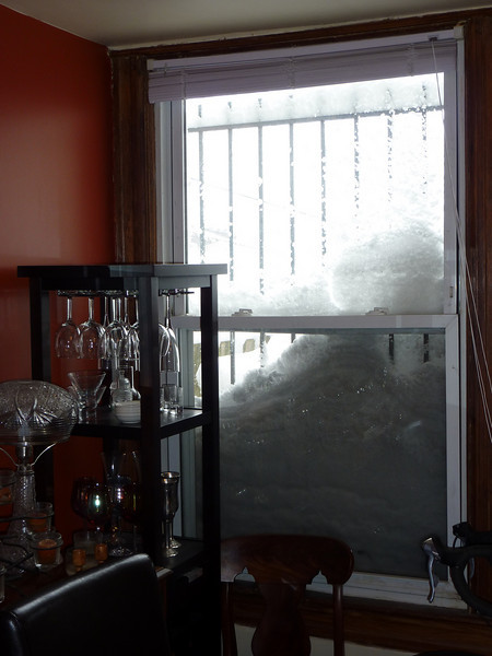 Snow outside our dining room window