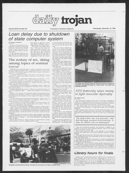 Daily Trojan, Vol. 97, No. 68, December 12, 1984