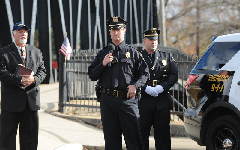 """Phillipsburg Police Chief, Robert Stettner offers his remarks. The Phillipsburg Police Department held a remembrance ceremony honoring fallen officer, Kenneth W. """"Red"""" Vandegrift who died in the line of duty Nov. 20, 1930. The ceremony was at the bridge on South Main Street that bears his name."""