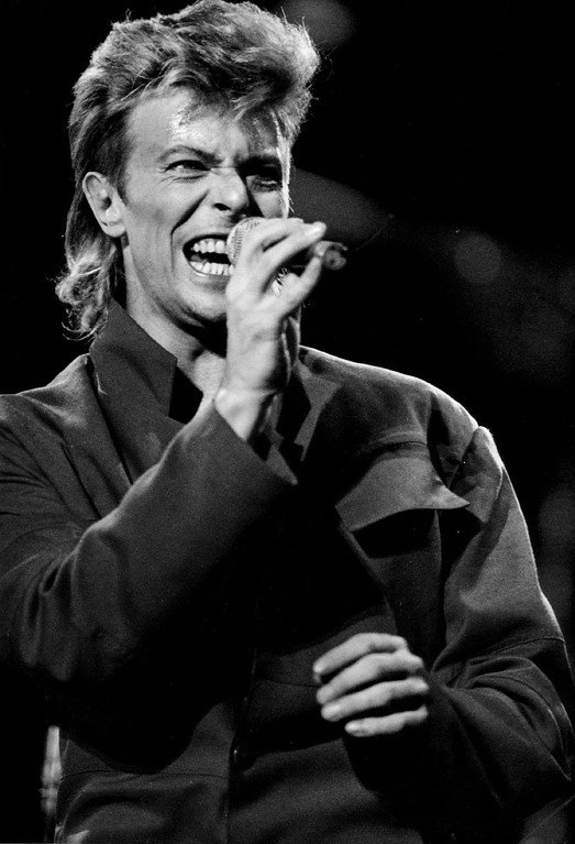 . 10-1987  Bowie, David - Ind - at Mile High Stadium in August, 1987  Denver Post photo by Karl Gehring