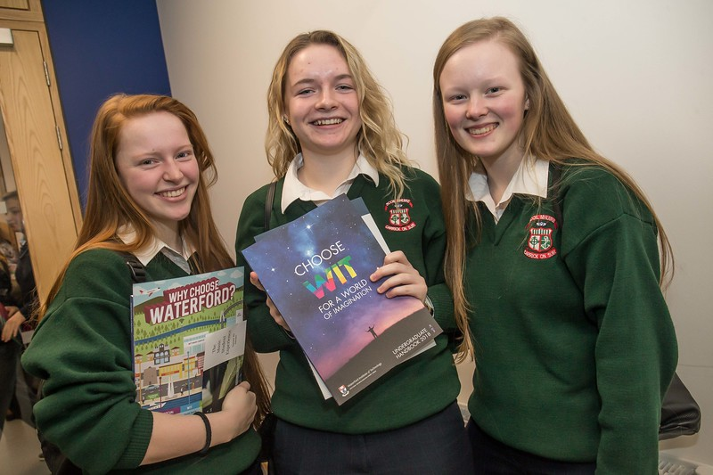 Saoirse Cummins, Caoimhe O'Callaghan and Aoibhe Ann Sheehan, Scoil Mhuire Greenhill, Carrick on Suir during the Waterford Institute of Technology Schools' Open Day at the WIT Arena. On Saturday, 20 January, WIT is running another open day, the #StudyatWIT Open Day which will have information available on all courses available across WIT's schools of Lifelong Learning, Humanities, Engineering, Science & Computing, Health Sciences, Business. Picture: Pat Moore