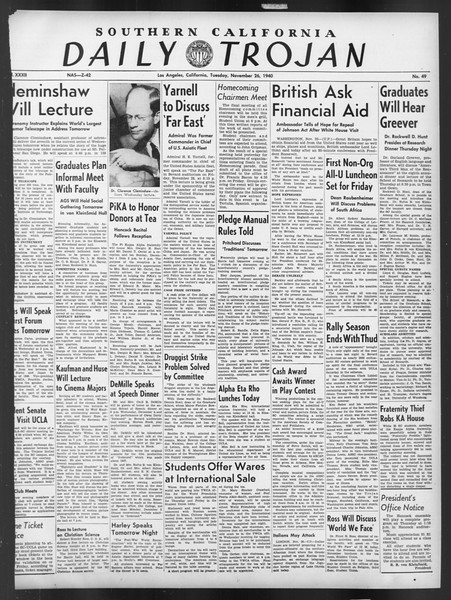 Daily Trojan, Vol. 32, No. 49, November 26, 1940