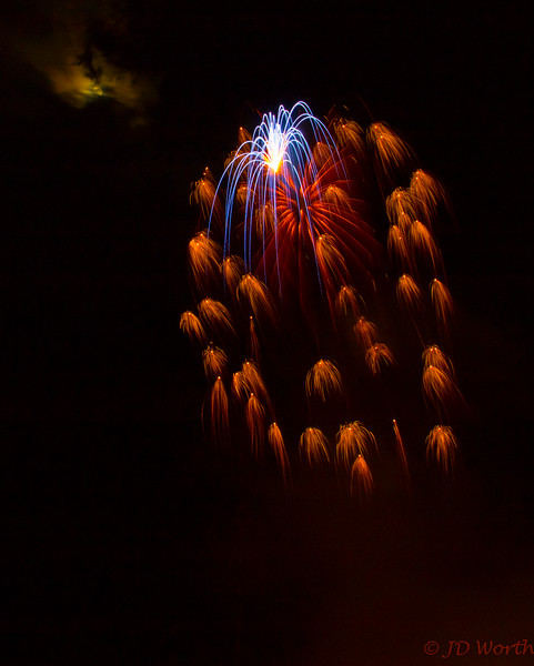 070417 Luray VA Downtown Fireworks - Blue Spider with Descending Burnt Orange Miniatures and Peeking Moon-0945.jpg
