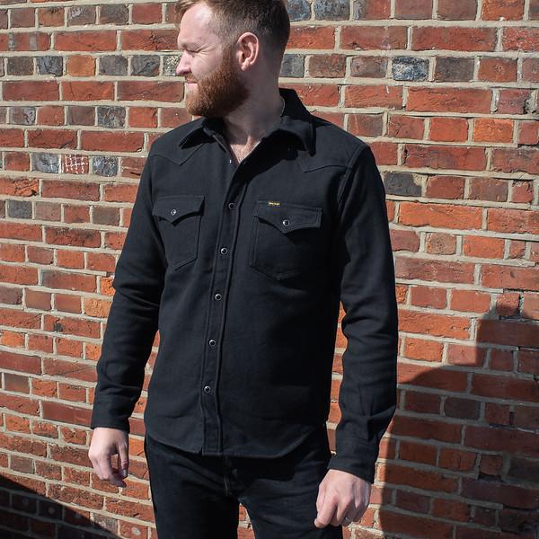 "Ultra Heavy Flannel Herringbone Western Shirt ""The Cozy Cash"" - Black-25465.jpg"