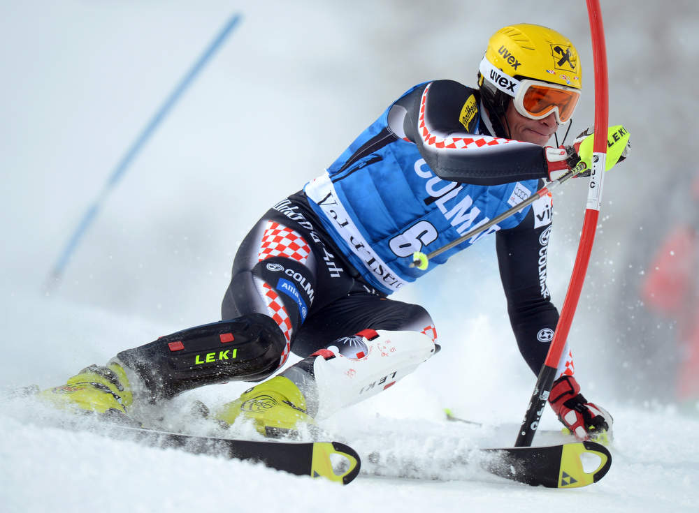 Description of . Croatia's Ivica Kostelic competes in the first run of FIS World Cup men's slalom on December 8, 2012 in Val d'Isere, French Alps.     AFP PHOTO/PHILIPPE  DESMAZES/AFP/Getty Images