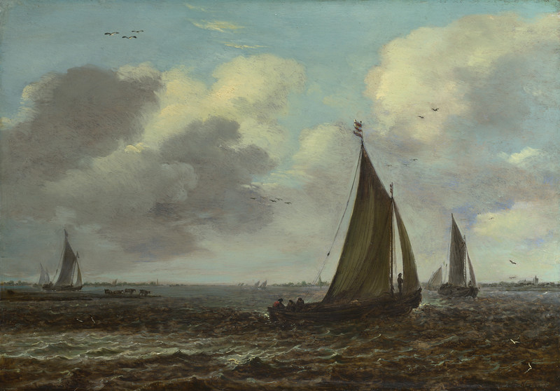 Sailing Vessels on a River in a Breeze