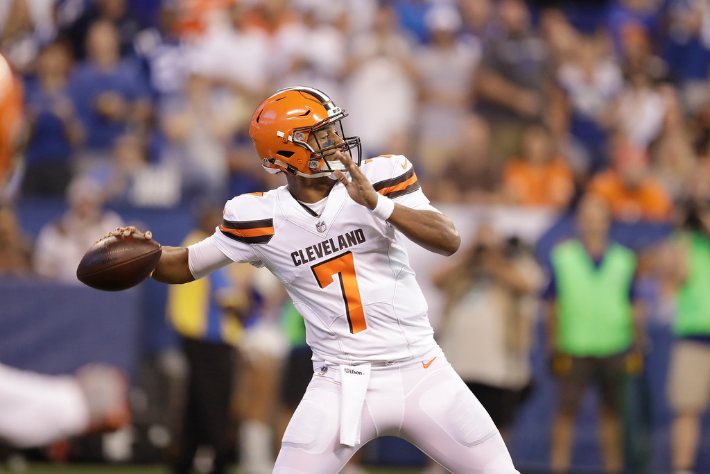 . Cleveland Browns quarterback DeShone Kizer (7) throws against the Indianapolis Colts during the first half of an NFL football game in Indianapolis, Sunday, Sept. 24, 2017. (AP Photo/Darron Cummings)