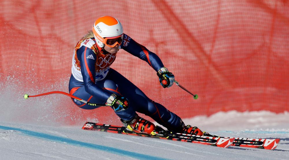 . Britain\'s Chemmy Alcott makes a turn in the women\'s super-G at the Sochi 2014 Winter Olympics, Saturday, Feb. 15, 2014, in Krasnaya Polyana, Russia. (AP Photo/Luca Bruno)