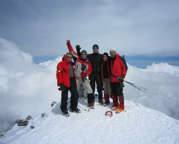 Pavel, Ariana, Sasko, Dimitry I, Dimitry II (from the right) at the summit.