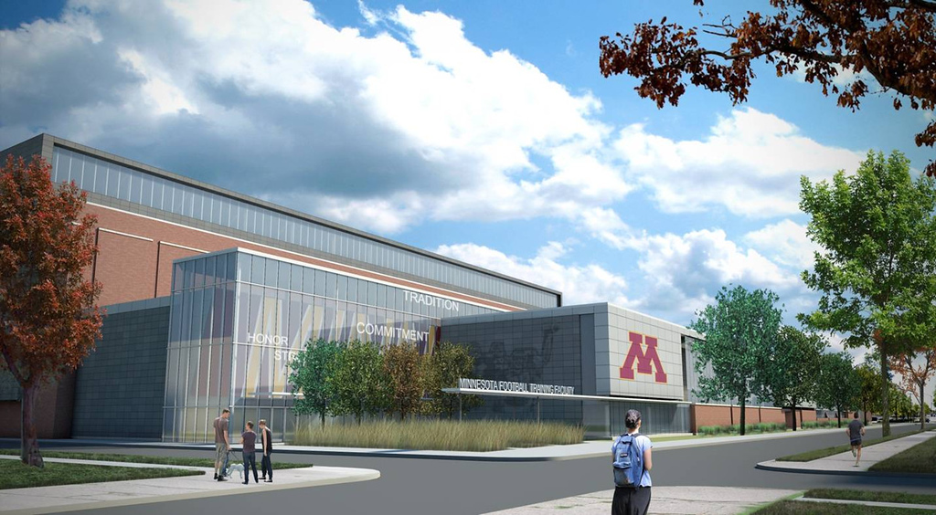 . A rendering of the  new football administration building, seen from the corner of 15th Avenue and Eighth Street. The  conceptual image was unveiled by the University of Minnesota on Wednesday July 10, 2013. (Courtesy of the University of Minnesota)