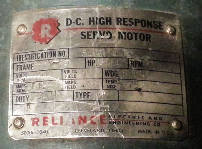 """Heck of a shunt motor. I estimate it to be able to hack between 1hp and 1 1/4hp depending on duty and cooling. """"SPEC"""" doesn't say much!"""