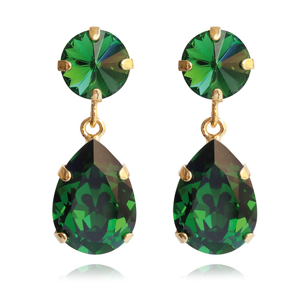 Classic Drop Earrings / Dark Moss Green / Gold
