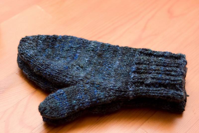 Mittens from Chunky Winter Set, by Amy King. In handpainted, handspun (not mine!) yarn from NHS&W this spring.