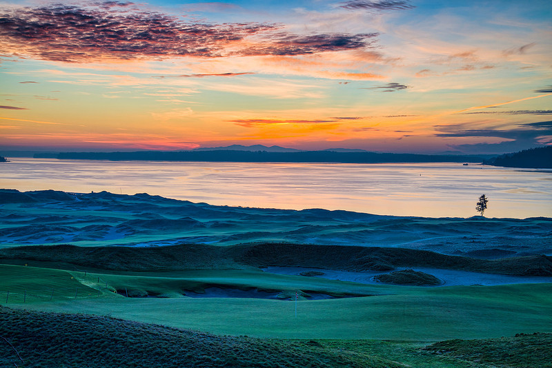 Chambers Bay Sunset, University Place, WA. 2015 US Open will be held on this Golf Course. This is right below our home.