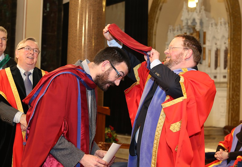 Pictured is Enda Coates, Newbridge, Co Kildare who was conferred a Doctor of Philosophy from Dr. Derek O'Byrne, Registrar of WIT. Picture: Patrick Browne.