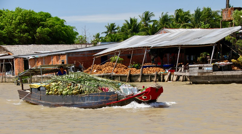 The river is full of these boats transporting the local products.