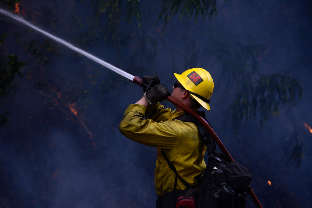 . A firefighter extinguishes trees as firefighters light a backfire along Highway 1 between Pfeiffer Ridge Road and the Big Sur Station in Big Sur, Calif. on Wednesday December 18, 2013. (Photo David Royal/ Monterey County Herald)