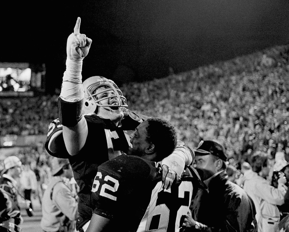 . Los Angeles Raiders Matt Millen gives the number one sign as he celebrates with teammate Reggie Kinlaw following the Raiders 38-9 Win over the Washington redskins in Super Bowl XVIII, Sunday, Jan. 23, 1984, at Tampa Stadium. (AP Photo)