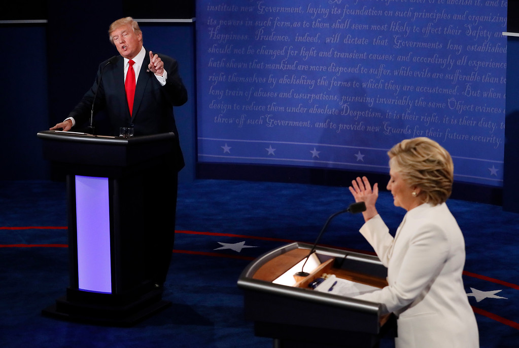. Democratic presidential nominee Hillary Clinton debates with Republican presidential nominee Donald Trump during the third presidential debate at UNLV in Las Vegas, Wednesday, Oct. 19, 2016. (Mark Ralston/Pool via AP)