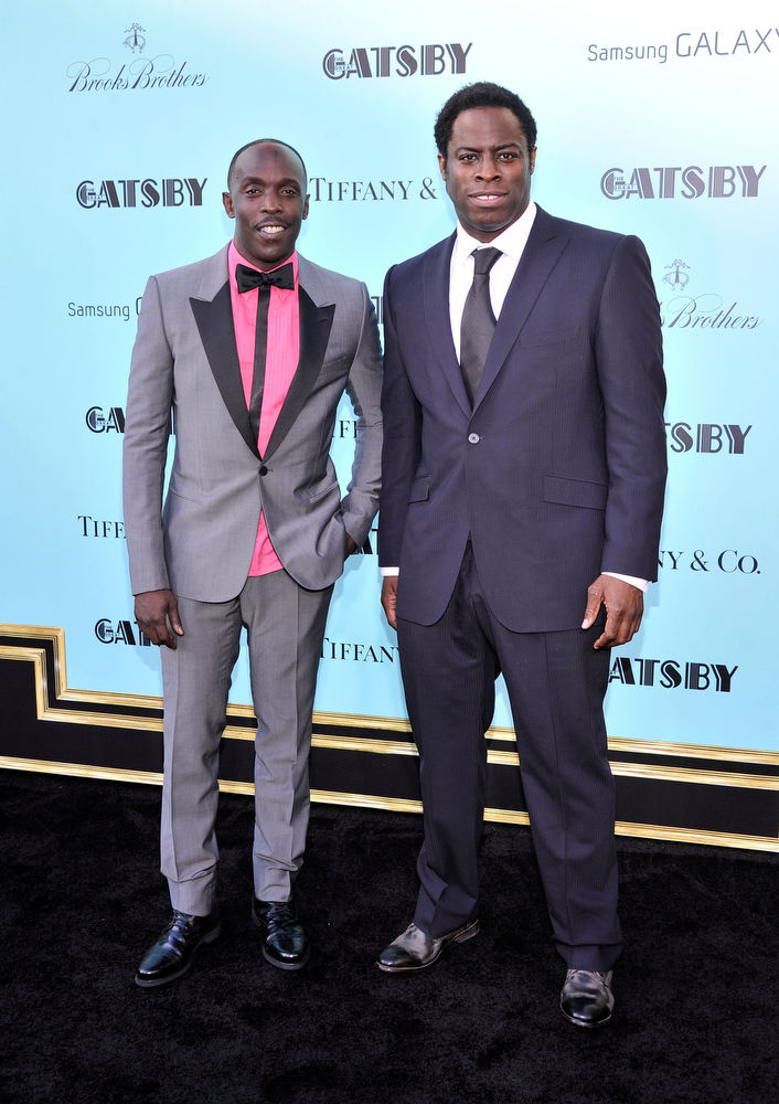 ". Michael K. Williams and Jeymes Samuel attend the ""The Great Gatsby\"" world premiere at Avery Fisher Hall at Lincoln Center for the Performing Arts on May 1, 2013 in New York City.  (Photo by Stephen Lovekin/Getty Images)"