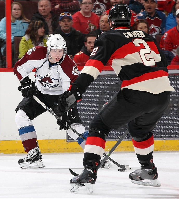 . Matt Duchene #9 of the Colorado Avalanche stickhandles the puck against Jared Cowen #2 of the Ottawa Senators during an NHL game at Canadian Tire Centre on March 16, 2014 in Ottawa, Ontario, Canada.  (Photo by Jana Chytilova/Freestyle Photography/Getty Images)