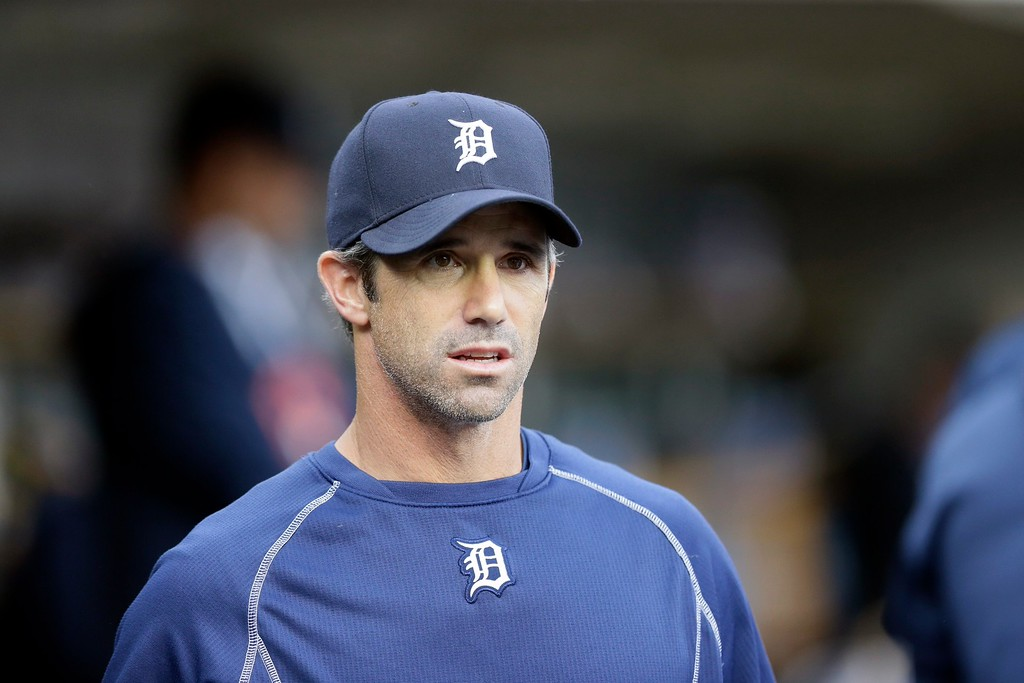 . Detroit Tigers manager Brad Ausmus is seen in the dugout before the first inning of a baseball game against the Chicago Cubs, Tuesday, June 9, 2015, in Detroit. (AP Photo/Carlos Osorio)