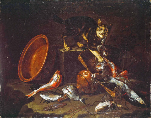 1634-1695 Giuseppe Recco (1634 Naples, Italy -1695 Alicante, Spain) A Cat Stealing a Fish oil on canvas 96.5 x 128.3 cm The Metropolitan Museum of Art, New York City.jpg