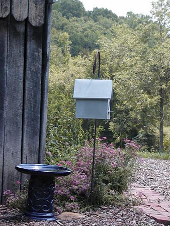 Birdbath and birdhouse display Erin's Meadow Herb Farm Clinton, TN 6/20/07
