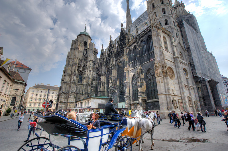 Tourists outside the St. Stephen's Cathedral - Vienna, Austria