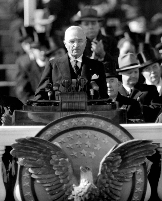 . President Harry S. Truman delivers the inaugural address from Capitol portico on January 20, 1949, after taking the oath of office for his first full term as chief executive. (AP Photo/Becker)