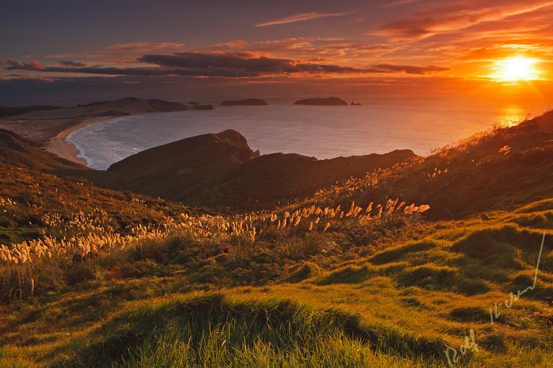 Sunset over Te Werahi Beach, Motuopao Island, and Cape Maria from Cape Reinga, Northland, North Island, New Zealand.