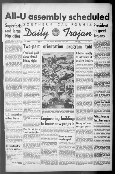Daily Trojan, Vol. 36, No. 149, July 04, 1945
