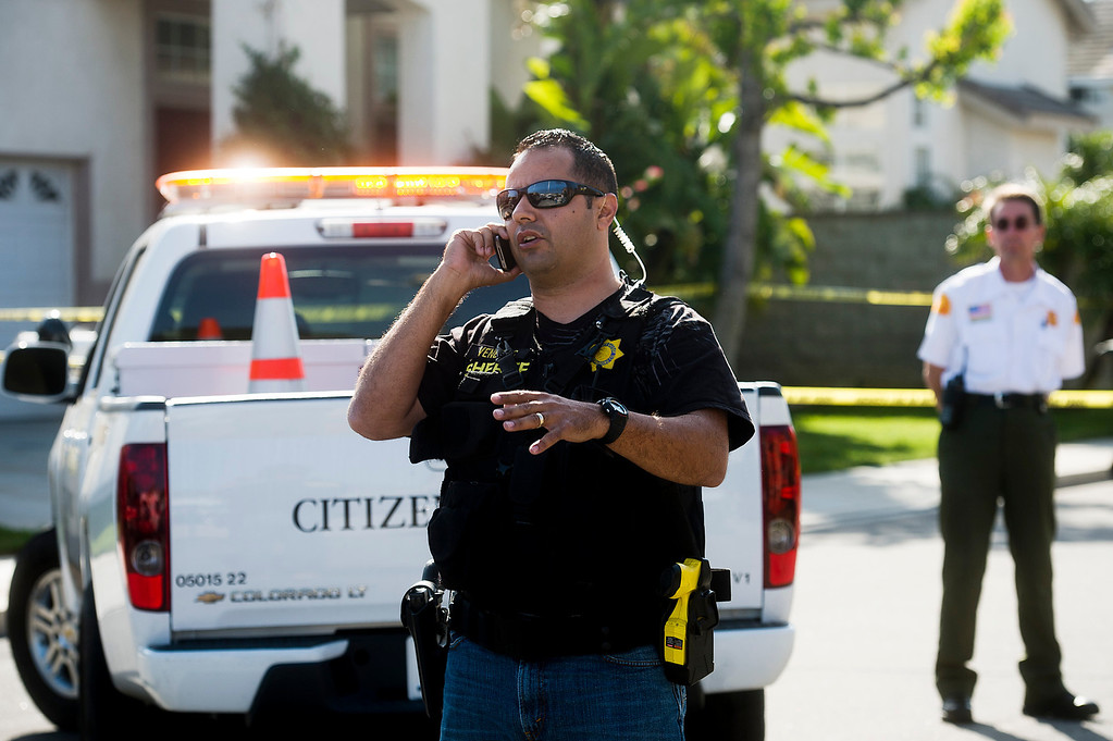 . San Bernardino County Sgt. Jesse Dengas at the scene of a deputy-involved shooting at the 5400 block of Brushwood Court in Chino Hills on Friday, March 28, 2014. (Photo by Watchara Phomicinda/ San Gabriel Valley Tribune)