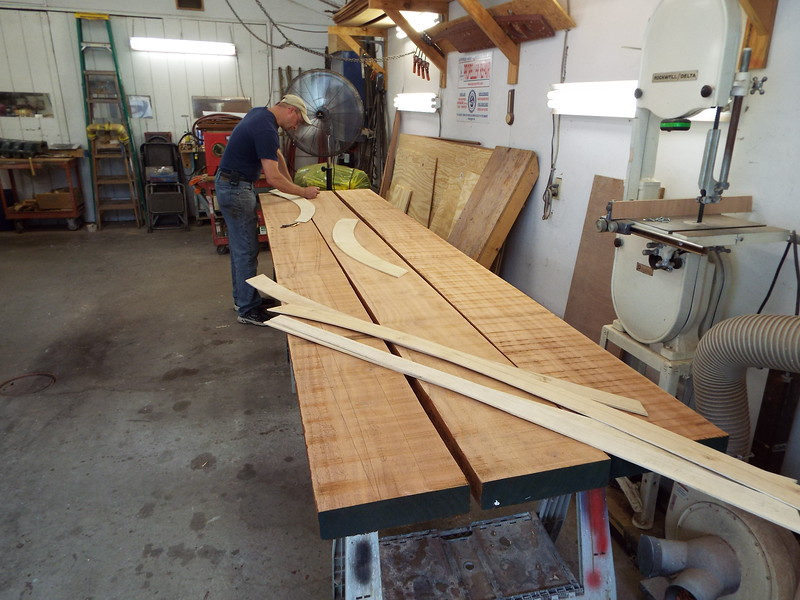 Laying out the new cover boards on some 10/4 Mahogany.