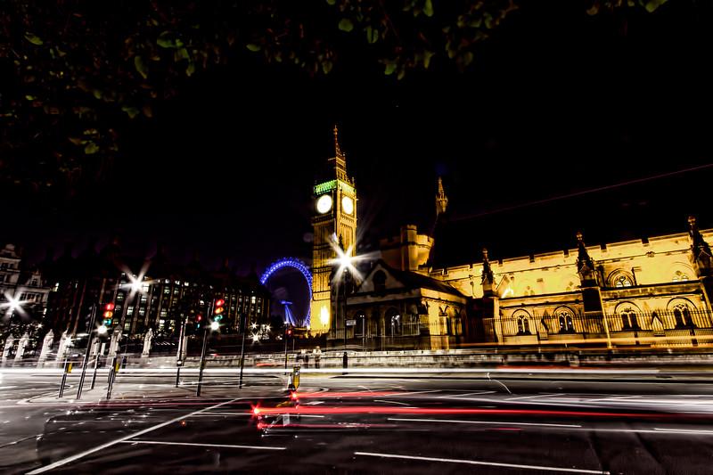 The London Eye, Big Ben, and a Black London Taxi