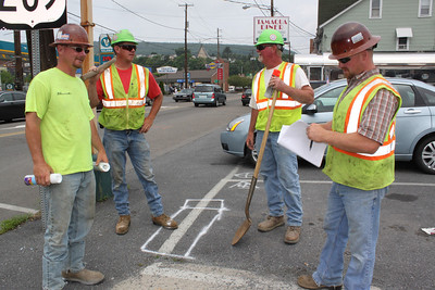 PennDOT Contractors Prepping Streets for Work, Tamaqua (6-22-2011)